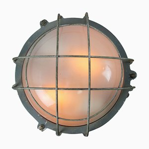 Vintage Industrial Gray Cast Iron and Frosted Glass Sconce, 1950s