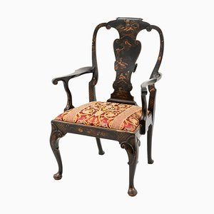 Antique Chippendale Style Black Lacquer Armchair, 1880s