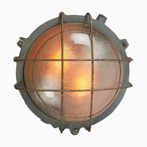 Vintage Industrial Cast Iron and Semi Frosted Glass Sconce, 1950s