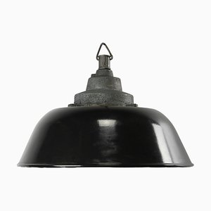 Industrial Black Enamel and Cast Iron Pendant Lamp, 1950s