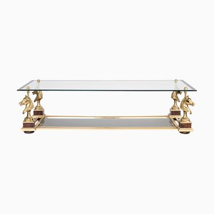 Glass and Gilt Bronze Coffee Table by Maison Charles, 1970s
