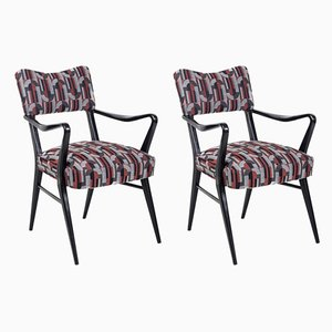 Black Lacquered Wood Armchairs by Ico Parisi, 1970s, Set of 2