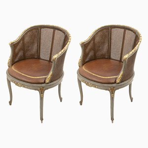 Antique Louis XV Style Green Lacquered Wood and Giltwood Armchairs, 1900s, Set of 2