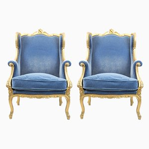 Antique Louis XV Style Wingback Giltwood Armchairs, 1880s, Set of 2