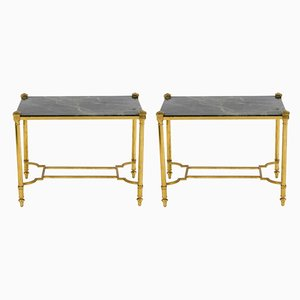 Mesas auxiliares de latón dorado y mármol verde, años 70. Juego de 2