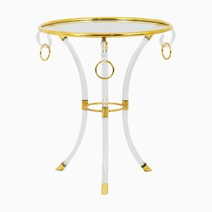 Directoire Style Lucite and Gilt Brass Side Table by Hollis Jones, 1970s