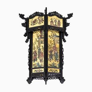 Farol Napoleon III antiguo de madera y vidrio