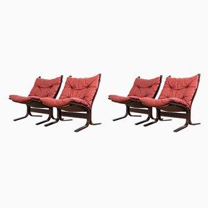 Poltrone Siesta in pelle rossa di Ingmar Relling per Westnofa, anni '60, set di 4