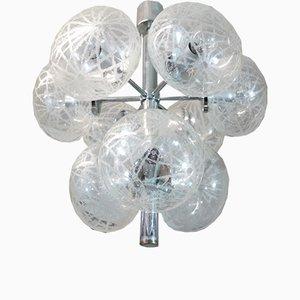 Deutscher Space Age Sputnik Kronleuchter aus geätztem Glas & Chrom, 1960er