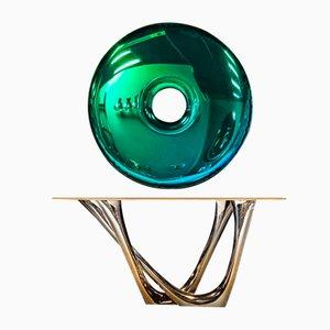 Consola G de acero inoxidable dorado y piedra de Oskar Zieta