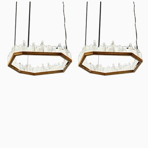 Natural Selenite Downtowns Pendant Lamps, Set of 2