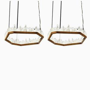 Natural Selenite Downtowns Pendant Lamps, Set of 2