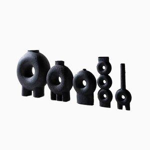 Conjunto de jarrones esculpidos de cerámica de Victoria Yakusha. Juego de 5