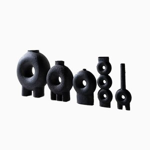 Vasi in ceramica scolpita di Victoria Yakusha, set di 5