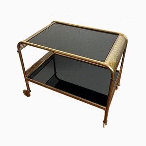 Art Deco Golden Brass and Glass Trolley, 1930s