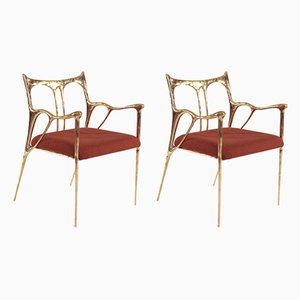 Sculpted Brass Chairs from Misaya, Set of 2