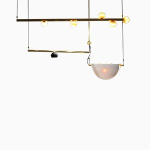My Queen III Brass Sculpted Suspension Light by Periclis Frementitis