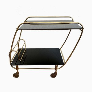 Italian Gold Metal and Black Glass Bar Cart, 1950s