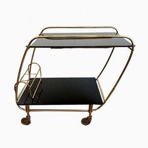 Italienischer Barwagen aus goldenem Metall & schwarzem Glas, 1950er