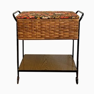 Mid-Century Wooden and Rattan Sewing Box