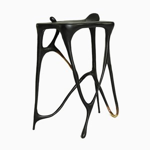 Calligraphic Sculpted Brass Side Table by Misaya