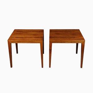 Tables d'Appoint Mid-Century en Palissandre par Haslev pour Severin Hansen, années 60, Set de 2