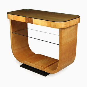 Art Deco Sycamore Console Table, 1930s