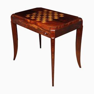 Mesa de juegos Art Déco de caoba y satín, años 20
