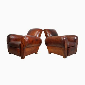 Antique French Leather Club Chairs, 1940s, Set of 2