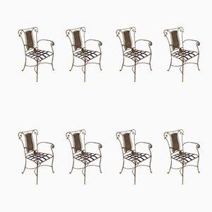 Italian Iron Armchairs, 1960s, Set of 8