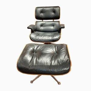Chaise longue in palissandro e poggiapiedi di Charles & Ray Eames per Herman Miller, anni '50