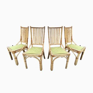 Bamboo Dining Chairs, 1980s, Set of 4