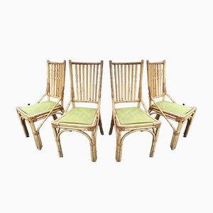 Esszimmerstühle aus Bambus, 1980er, 4er Set
