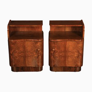 Art Deco Walnut Serpentine Bedside Cabinets, 1930s, Set of 2