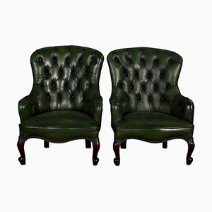 Antique Victorian Green Leather Spoon Back Armchairs, Set of 2