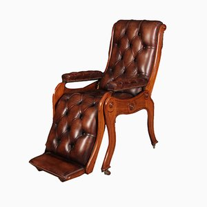 Antique Mahogany and Brown Leather Armchair