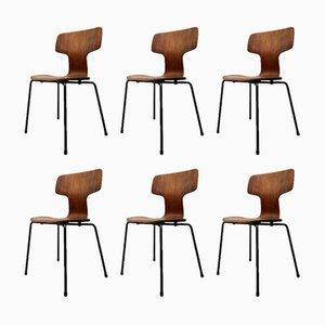 Sedie da pranzo nr. 3103 impilabili di Arne Jacobsen per Fritz Hansen, anni '60, set di 6