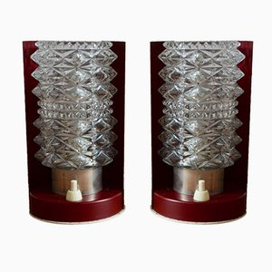Vintage Burgundy Table Lamps, 1950s, Set of 2