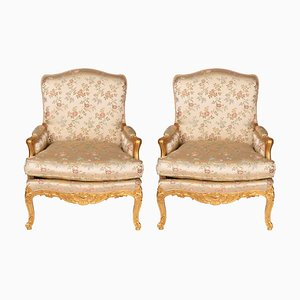 Antique Louis XV Style Giltwood Armchairs, 1900s, Set of 2