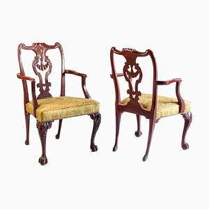 Antique Chippendale Style Red Lacquered Wood Armchairs, 1880s, Set of 2