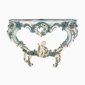 Antiker lackierter Louis XV Konsolentisch in Weiß & Blau