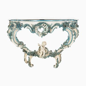 Antique Louis XV Style White and Blue Lacquered Console Table