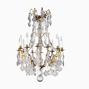 Vergoldeter Kronleuchter aus Bronze & Kristallglas, 19. Jh