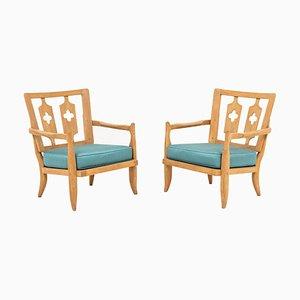 Armlehnstühle aus Eiche von Robert Guillerme & Jacques Chambron, 1950er, 2er Set