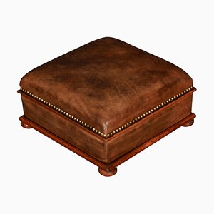 Antique Brown Leather and Walnut Footstool