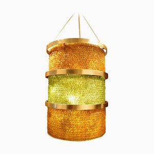 Large Yellow and Green Glass and Metal Lantern, 1950s