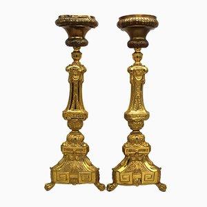 Candeleros Napoleón III antiguos. Juego de 2
