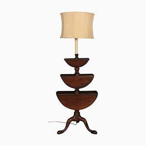 Lámpara de pie gemela antigua de caoba