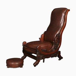 Sedia a dondolo Guglielmo IV antica in mogano con poggiapiedi