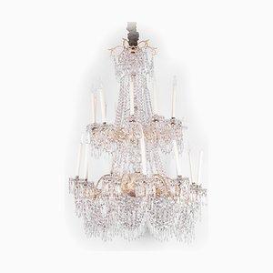Lámpara de araña Napoleón III antigua grande de bronce plateado y cristal
